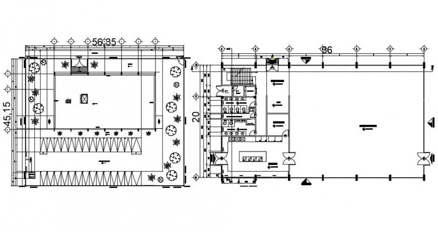Two floor distribution plan details of restaurant dwg file