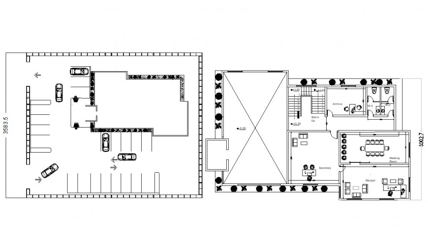 Two floor distribution plan details with furniture of bank dwg file