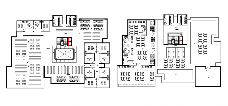 Two floor distribution plan of library with furniture drawing details dwg file