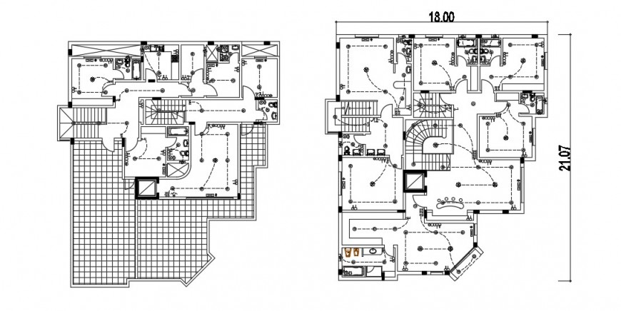 Two floor distribution plan with sanitary installation of residential house dwg file
