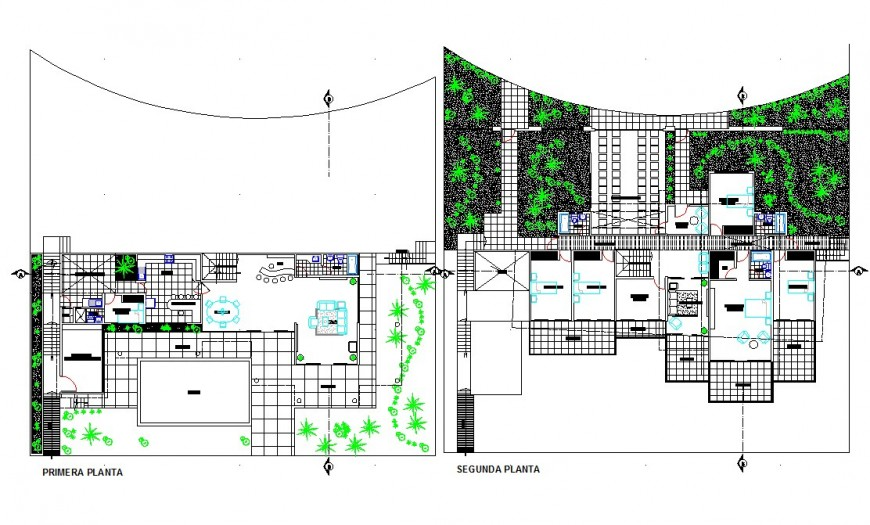 Two floor house building structure detail plan 2d view CAD construction block layout autocad file