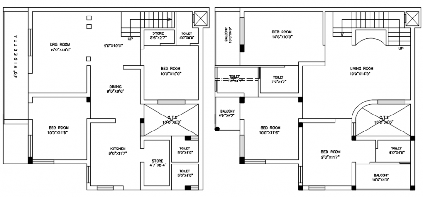 Two floor layout plan details of residential house dwg file