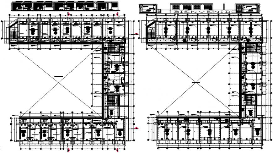Two floor plan distribution drawing details of college building dwg file