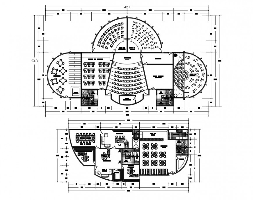 Two floor plan distribution drawing details of multiplex theater dwg file