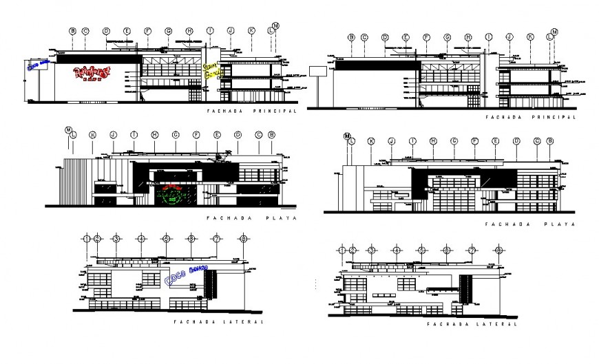 Two floor restaurant elevation detail drawing in dwg AutoCAD file.