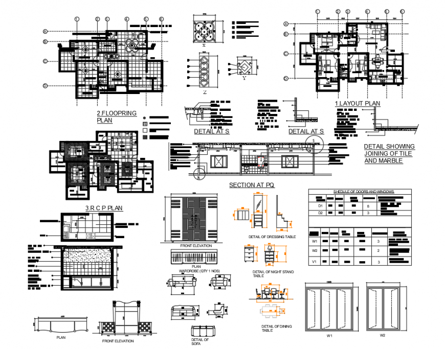 Two flooring family house detailed architecture project dwg file