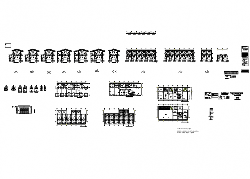 Two flooring house all sided sections with structure and constructive details dwg file