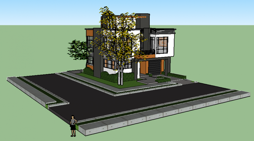 Two flooring residential house 3d design cad drawing details dwg file