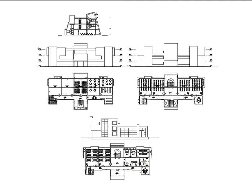 Two flooring science college elevation, section and floor plan layout details dwg file