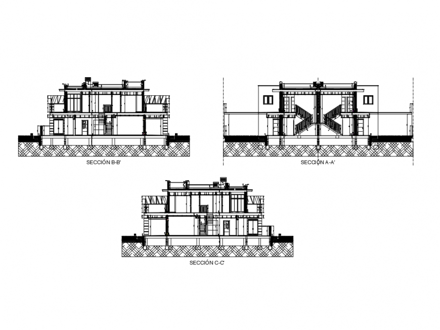 Two flooring semi detached house section A-A, B-B and section C-C details dwg file