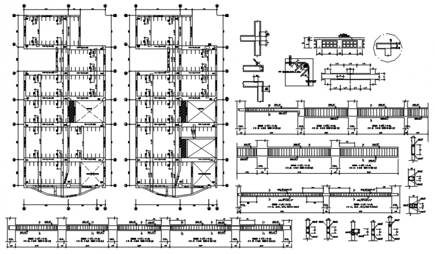 Two floors cover plan structure and beam schedule drawing details of apartment building dwg file