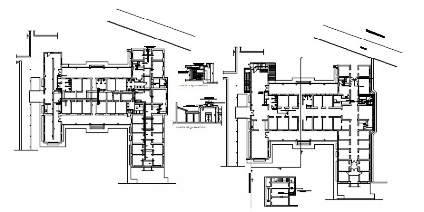 Two floors distribution and structure details of neuro psychiatric hospital dwg file
