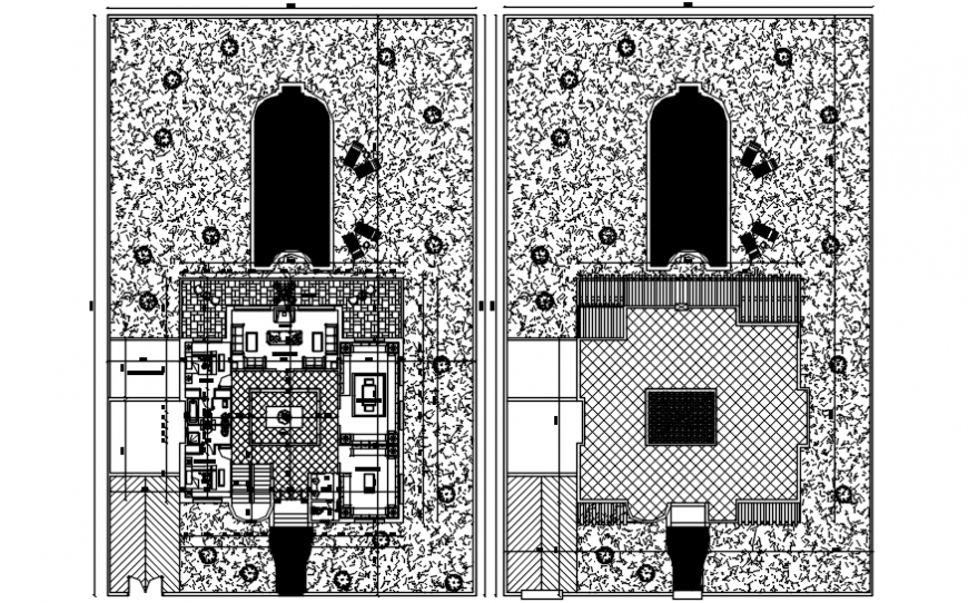 Two floors distribution layout plan details of residential villa dwg file