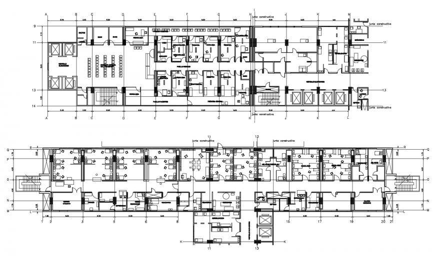 Two floors distribution plan details of hospital building dwg file