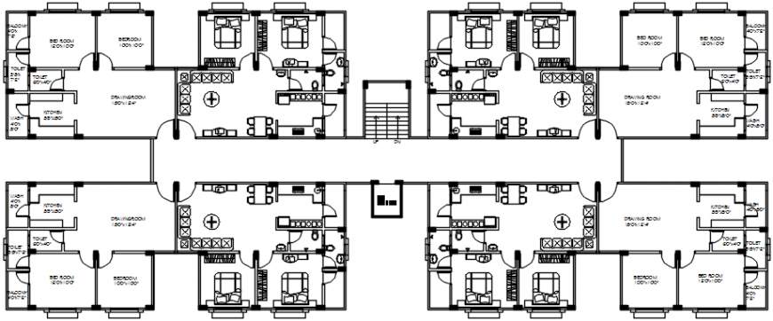 Two floors of apartment building floor plan auto-cad drawing details dwg file