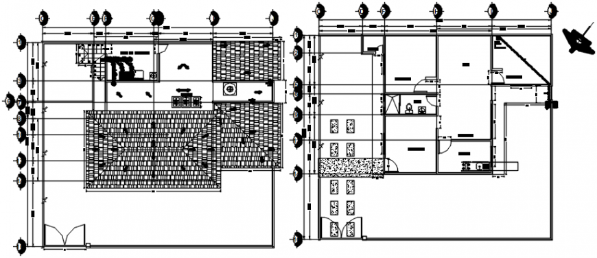 Two floors of house plan and sanitary installation details dwg file
