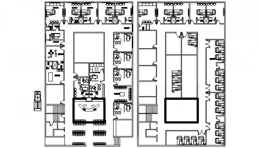 Two floors of office building cad drawing details dwg file