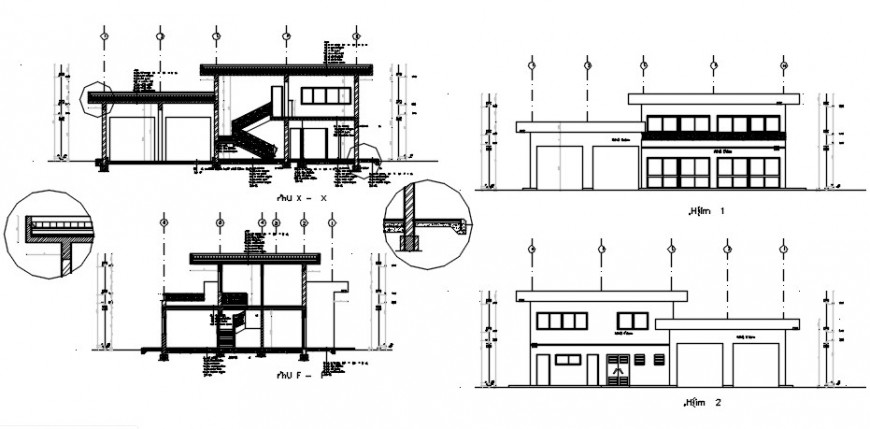 Two floors service maintenance center elevation and section details dwg file