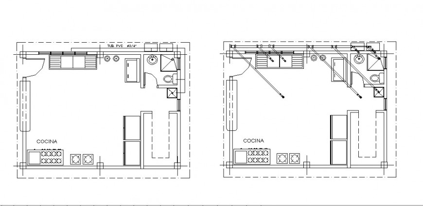 Two house kitchen layout plan and furniture drawing details dwg file