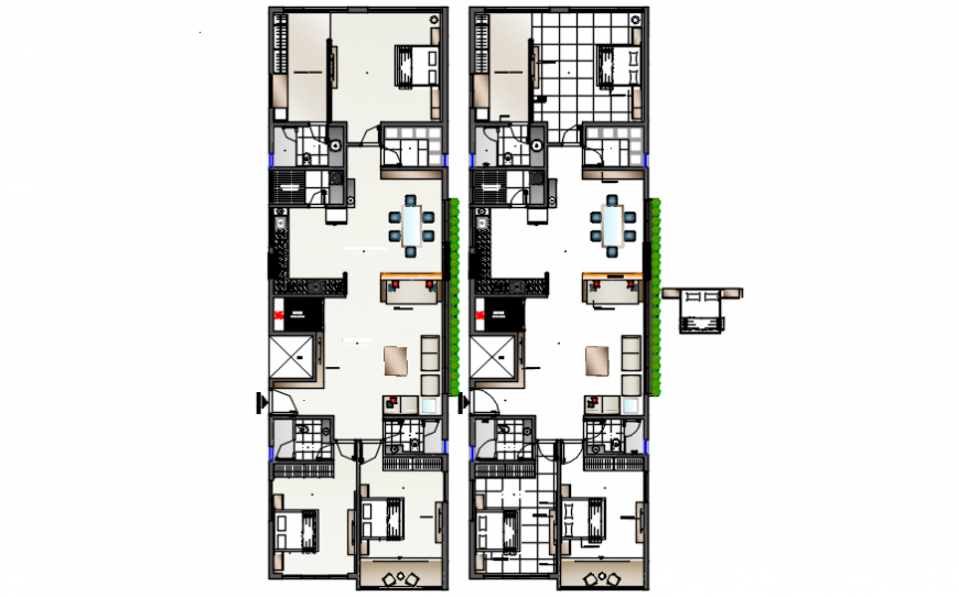 Two houses of apartment building layout plan cad drawing details dwg file