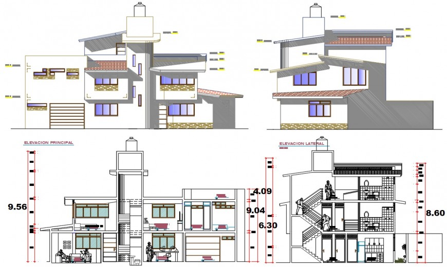 Two level bungalow elevation and section drawing details dwg file