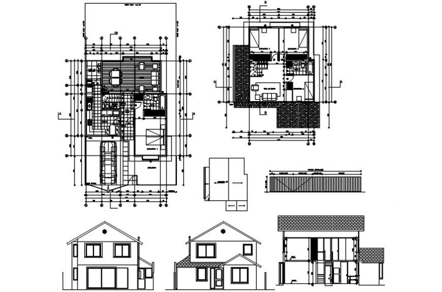 Two level home elevations, section and floor plan drawing details dwg file