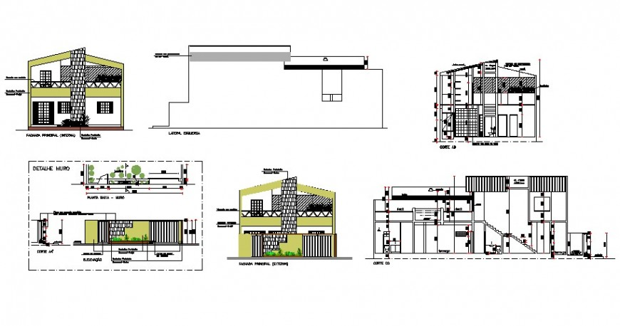 Two level house all sided elevation, section and compound wall drawing details dwg file