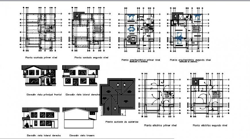 Two level house elevation, section, floor plan and structure details dwg file