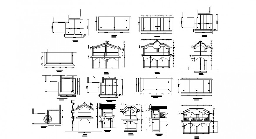 Two level house elevation, section and structure details dwg file
