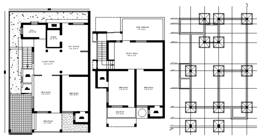 Two level house floor plan with foundation plan drawing details dwg file