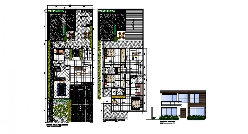 Two level house frontal elevation and floor plan cad drawing details dwg file
