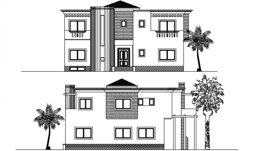 Two level house main and back elevation cad drawing details dwg file