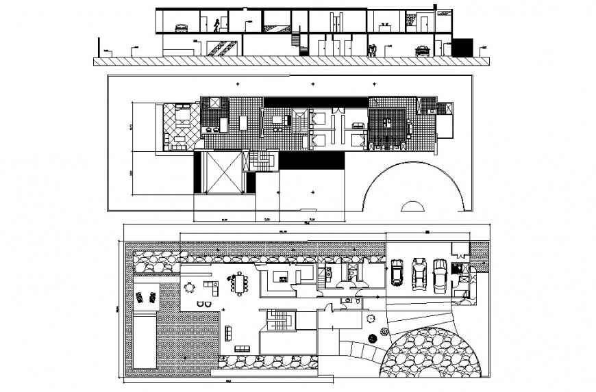 Two level house main section and floor plan cad drawing details dwg file
