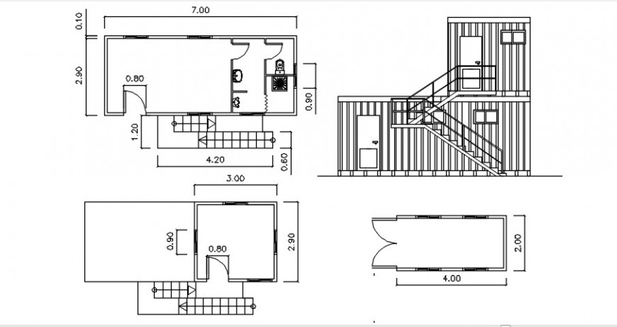 Two level house section and general plan drawing details dwg file