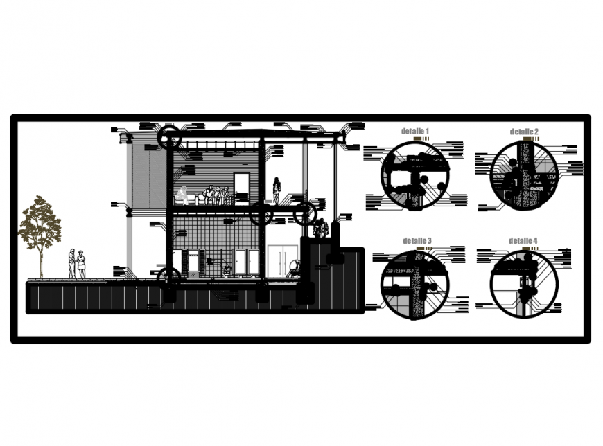 Two level house section with construction details steel concrete dwg file