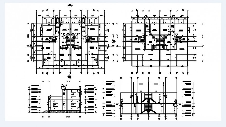 Two level house sections and floor plan cad drawing details dwg file