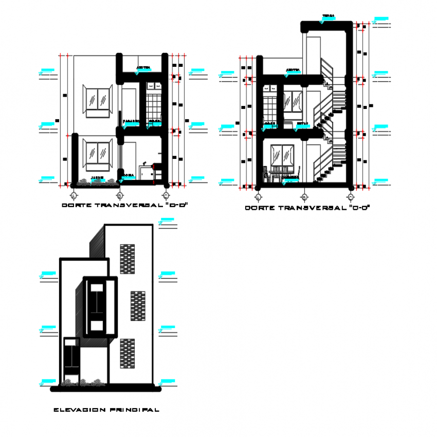 Two level housing main elevation, main section and side sectional view dwg file