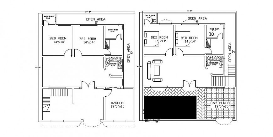 Two level housing plan in AutoCAD file