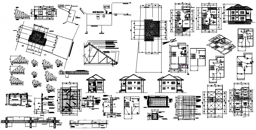 Two level residential house detailed architecture project dwg file