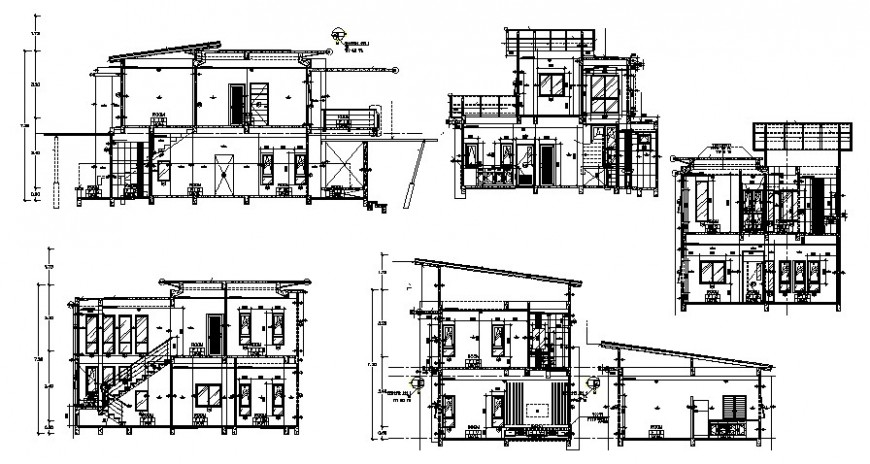 Two level residential house elevations and sections drawing details dwg file