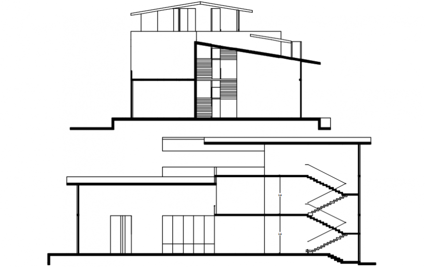 Two level villa main elevation and section drawing details dwg file
