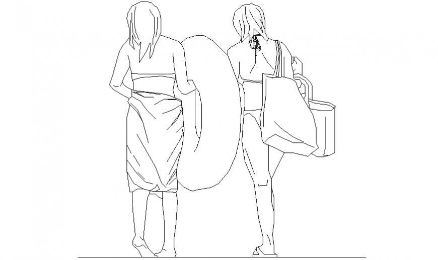 Two modern women standing with block of people dwg file