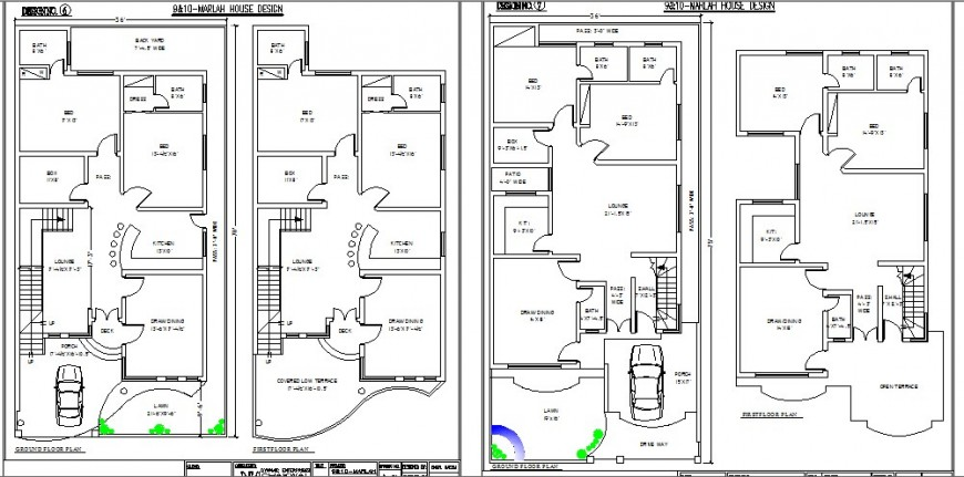Two residential houses ground and first floor plan cad drawing details dwg file