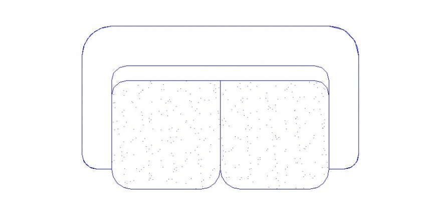 Two seated sofa set elevation block details dwg file