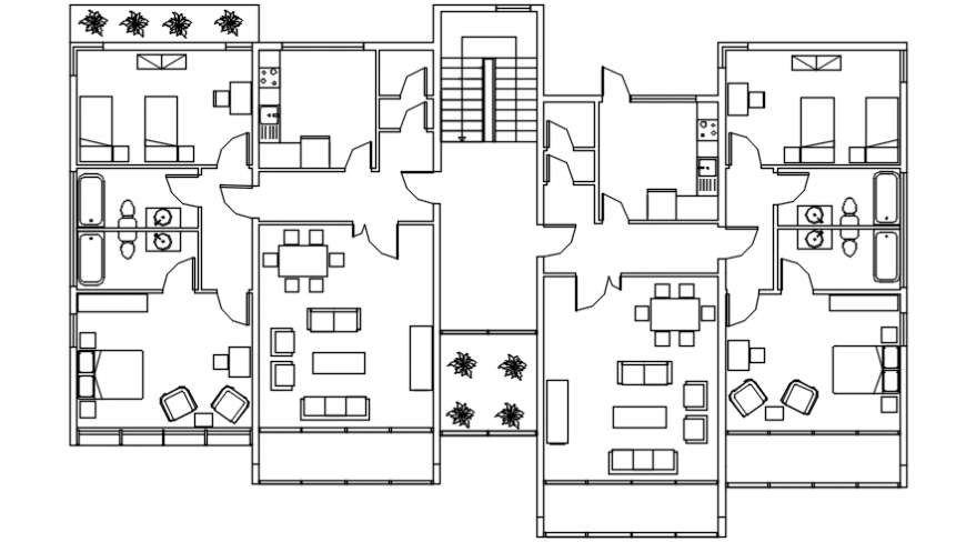 Two social houses distribution with furniture plan cad drawing details dwg file