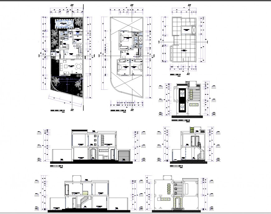 Two storey apartment autocad file