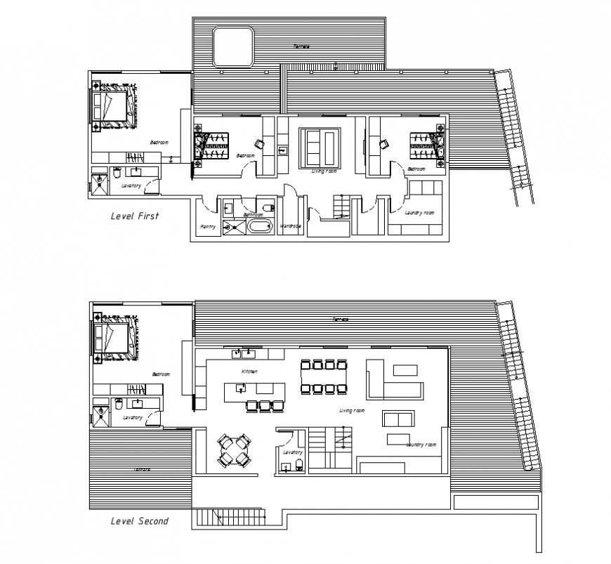 Two storey housing building detail elevation and plan 2d view layout file