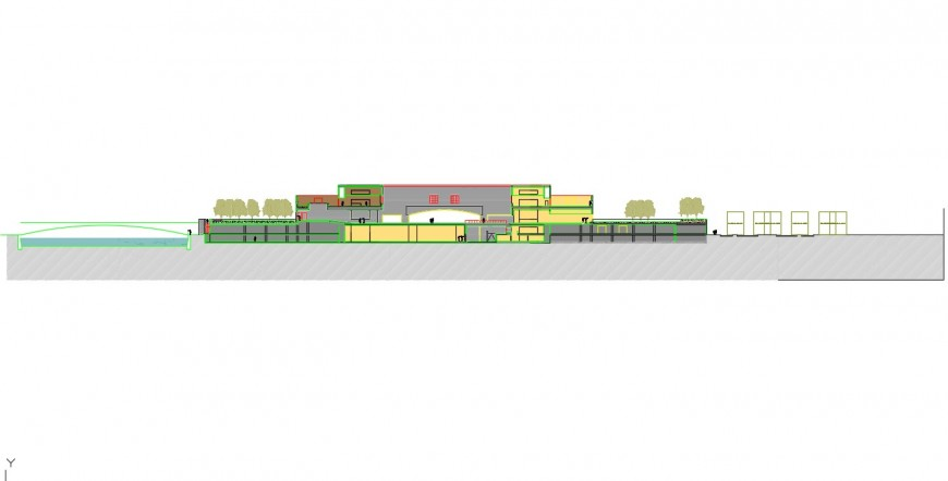 Two stories commercial building elevation autocad file