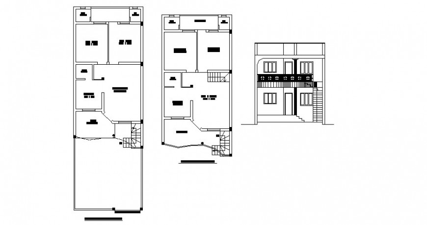 Two stories residential apartment working plan and elevation autocad file