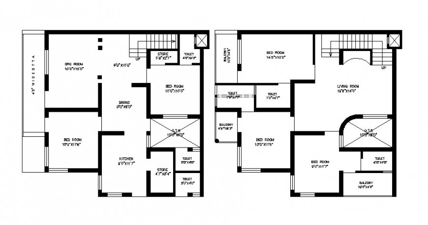 Two story bungalow drawings 2d view work layout plan AutoCAD software file